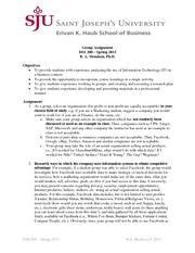Group Assignment - IT & IS in Business (Spring 2013)