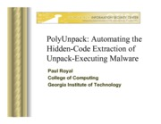Lecture+4+-+PolyUnpack+Automating+the+Hidden-Code+Extraction+of+Unpack-Executing+Malware