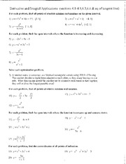 1680 Final exam review- derivative and integral applications