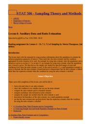 Lesson 4  Auxiliary Data and Ratio Estimation   STAT 506 - Sampling Theory and Methods