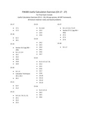 Useful calculation exercises for FIN300 final