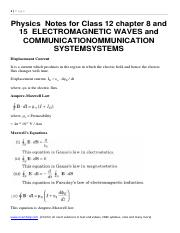 Physics  Notes for Class 12 chapter 8 and 15  ELECTROMAGNETIC WAVES and COMMUNICATIONOMMUNICATION  S
