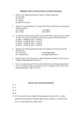Solution Chemistry Question and Answers