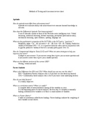 Methods of Testing and Assessment review sheet