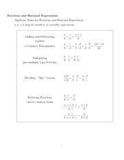Handout - Fractions and Rational Expressions Short