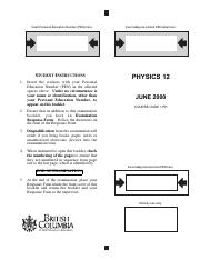 Physics 12 Exam A - June 2000