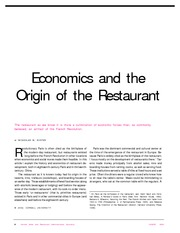 Economics and Origin of the Restaurant