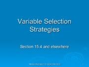 Multiple Regression Variable Selection