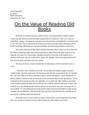 On the Value of Reading Old Books.docx