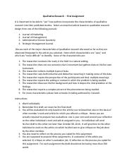 Assignment I - Qualitative Research