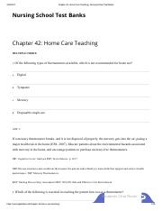 Chapter 42_ Home Care Teaching _ Nursing School Test Banks