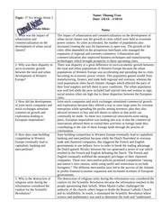 W HIST Cornell Notes- Urbanization and Commercialization