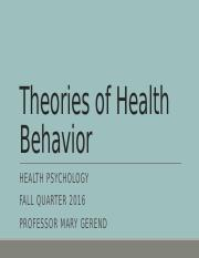 Theories of Health Behavior UPDATED