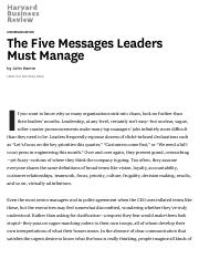 The Five Messages Leaders