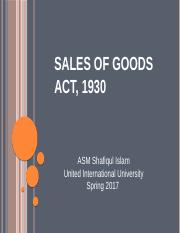 Lecture 10&11, Sales of Goods