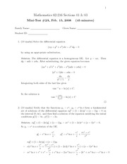 MATH 216 Winter 2008 Midterm 2 Version A Solutions