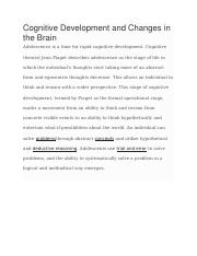 Cognitive Development and Changes in the Brain.docx