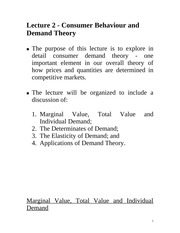 Lecture 2: Consumer Behaviour & Demand Theory Econ 1150