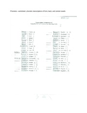 Phonetics –Study Guide- phonetic transcriptions of front, back, and central vowels