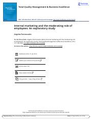 Internal marketing and the moderating role of employees An exploratory study