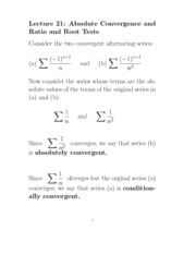 L21 Absolute Convergence Ratio and Root Tests Part I