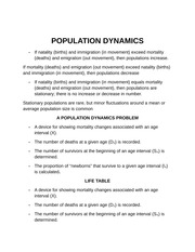 POPULATION DYNAMICS Notes