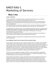 KMGT 643 Marketing of Services - Week 3 HIA