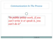 Communication In The Process Lecture 20