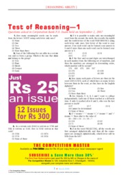 TEST OF REASONING CORPORATION BANK PO EXAM 2007