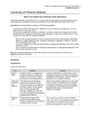 Financial term worksheet