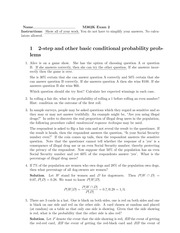 Practice Midterm Exam 2 Solution on Probability I Spring 2015
