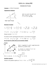 Formula Sheet for Exam 4 [Spring 2008]