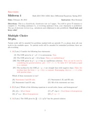 Test 1 Math 2214 Ordinary Differential Equations Solutions