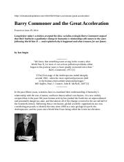 Barry Commoner and the Great Acceleration