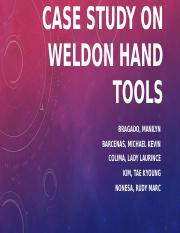 CASE study ON WELDON HAND TOOLS
