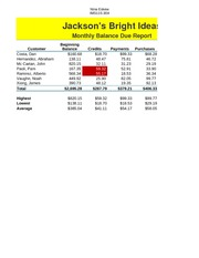 Jackson's Bright Ideas Monthly Balance Due Report