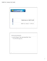 17. Matrices in Matlab