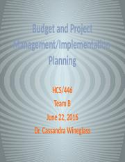 Budget and Project Management Team B outline update