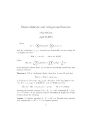 Lecture Notes on Main Existence and Uniqueness Theorem