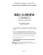 Organismal Biology - Final 2008 Multiple Choice Answers