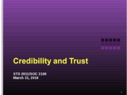 Credibility and Trust 033110