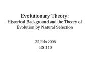 BS110 Evolutionary Theory