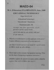 (www.entrance-exam.net)-VMOU M.A. in Education- Education Technology (MAED-04) Sample Paper 5