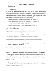 Lecture 8 Notes, Estimation