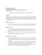 AC211 2017 Module 3 Class 1 Discussion notes - Responsibility accounting at Compagnie du Froid (CdF)