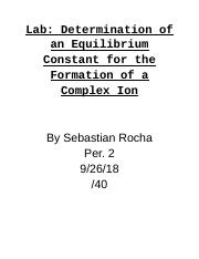 Lab: Determination of an Equilibrium Constant for the Formation of a Complex Ion