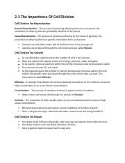 Science Notes - 2.3 The Importance Of Cell Division.docx