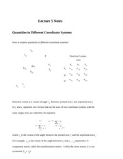 Lecture 5 Notes Quantities in Different Coordinate Systems