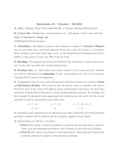 Calculus 21 Syllabus and Schedule