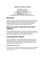 Syllabus for Online Learning